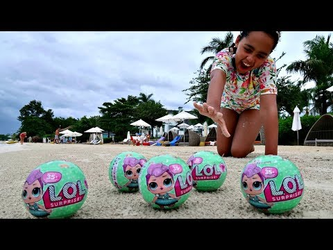 Thumbnail: Giant LOL Surprise Baby Dolls On The Beach - Kids Toys Opening | Toys AndMe