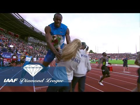 Usain Bolt runs over 25 mph and crashes into a flower girl - IAAF Diamond League