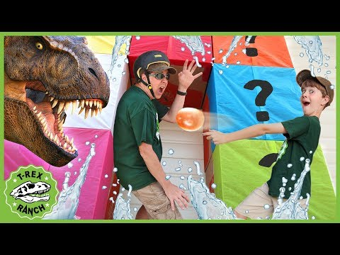 Dinosaur Box Fort Challenge! Kids Play Mystery Game With Surprise Toy Dinosaurs & Animals