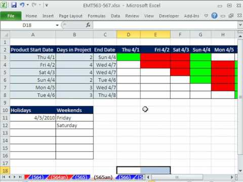 Excel Magic Trick 565: Excel 2010 Daily Gantt Chart - YouTube