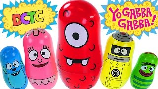 Yo Gabba Gabba! Stacking Cups Learn Colours with Nesting Dolls - Learning to Count Surprise Eggs
