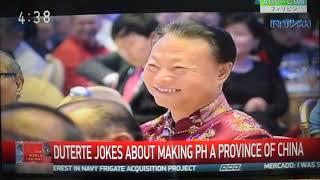 「フィリピンを中国の一つの省に変えれはいい、ただで」とジョークをドゥテルテ大統領飛ばした thumbnail
