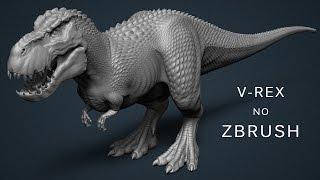 ZAULAS #11 - Detalhando um V-Rex com Alphas Personalizados no ZBrush