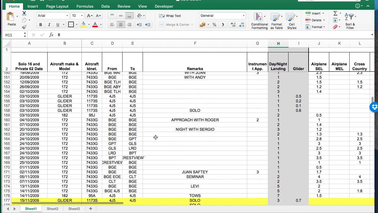 how to fill out aircraft logbook