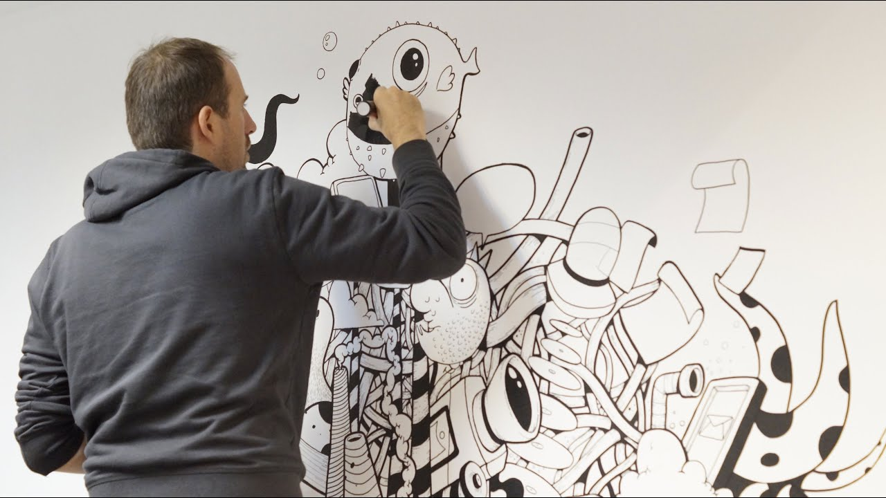 wall painting with posca and acrylics by oscar llorens youtube
