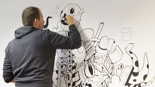 Wall painting with Posca and Acrylics  by Oscar Llorens