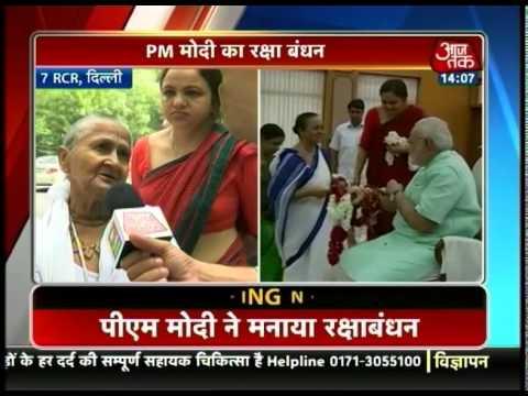 Tinytots, Vrindavan widows tie rakhi to PM Modi