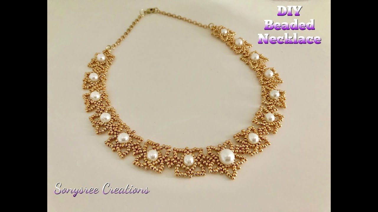 Pearly Seed Bead Necklace Diy Beaded How To Make