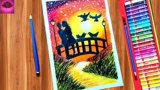 Romantic Couple sunlight scenery drawing with Oil Pastels - step by step