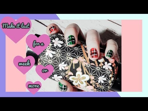 How To Make Your Nail Polish Last Longer Cute Plaid Nail Art Tutorial