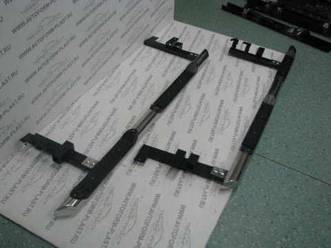 Защита порогов с накладками Ø63 мм Chevrolet Niva(Нержав.сталь).