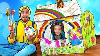Nastya y papa play and build Colorful playhouse for kids | Детский игровой домик своими руками
