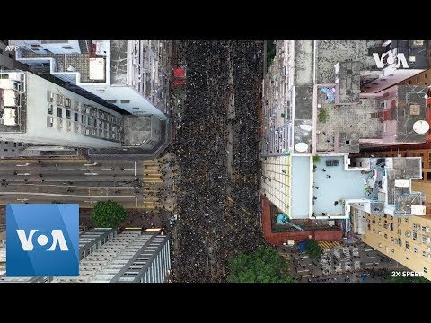 Drone footage: Hong Kong Protesters Rally to Demand Leader Steps Down