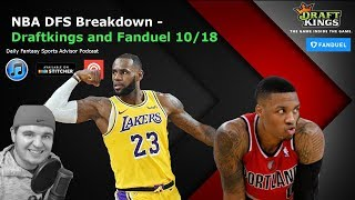 Daily Fantasy Sports Advisor NBA DFS 10.18.2018