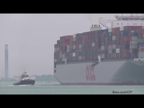 OOCL Bangkok Containership Southampton from Port Said Roads 11/5/17