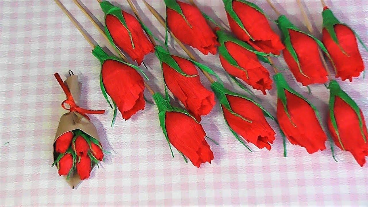 Цветы из гофрированной бумаги / Бутоны Роз мастер-класс ...