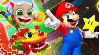 Gambar cover Talking Tom Gold Run China vs Super Mario Run Rescue Princess Peach Party at the Castle
