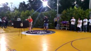Half Court shot attempt for $10,000 at CBS Studio Center