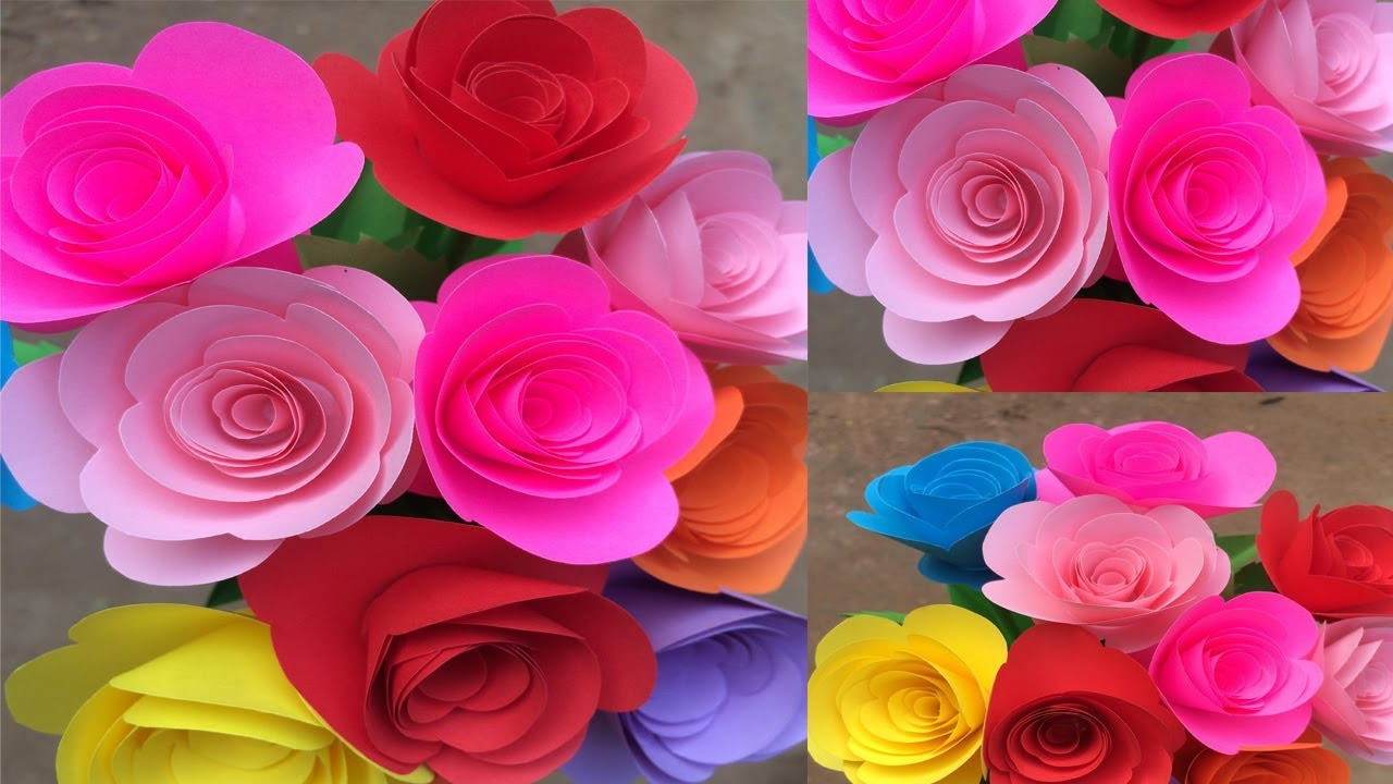 How To Make Paper Small Rose Making Paper Flowers Step By Step Diy Paper Crafts