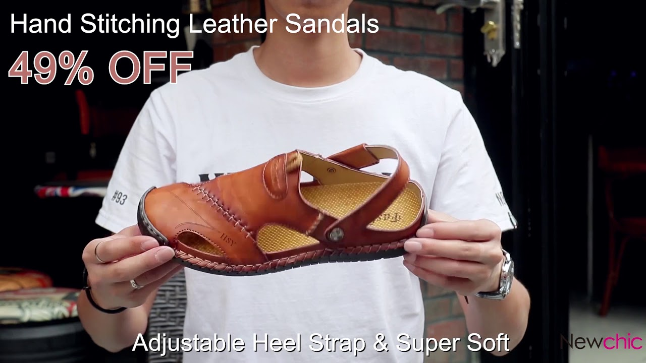 Men Soft Hand Sandalsnewchic Stitching Leather EYW9IDH2
