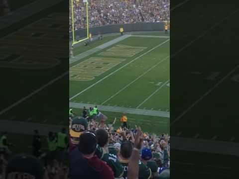 Squirrel scores touchdown on NFL football field