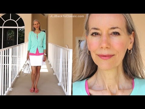 Classic Fashion/Style Over 50: Short Skirts Age Appropriate? Mint Cardigan, Pink Tee, White Skort