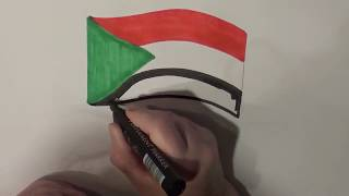 Learn geography for kids How to draw a flag Sudan