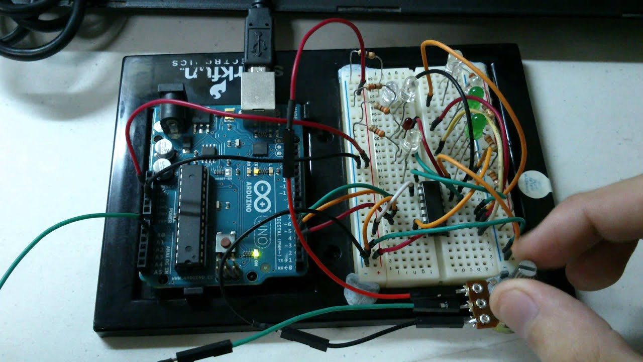 Arduino Project Led Light Chaser Using 74hc595 Shift Register Electronic Circuits For Beginners Potentiometer