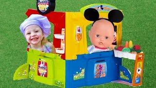 Беби Бон Кукла и КИНДЕРЫ в кафе МИККИ МАУС Игрушки для детей Toys Baby born online vlog for kids