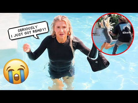 Making My GIRLFRIEND Get FULLY DRESSED Then THROWING Her In The POOL PRANK!