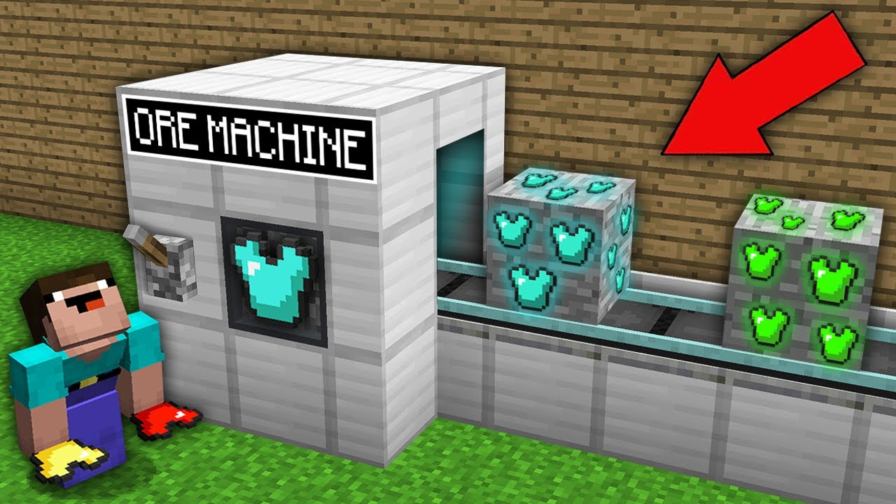 Minecraft NOOB vs PRO: NOOB CREATED RAREST ARMOR ORE IN THIS ORE MACHINE! Challenge 100% trolling