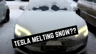 Tesla app preheating cabin and melting snow (Old video)