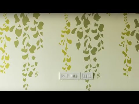 Fl Wall Painting Designs Ideas Trailing Green Stencil By Aapkapainter