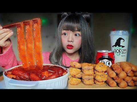 CLEAR WIDE CHINESE GLASS NOODLES +🐯 BLACK TIGER BOBA(finally...😭.!) 드디어 중국당면과 매운맛 치즈 떡볶이입니다!!!~