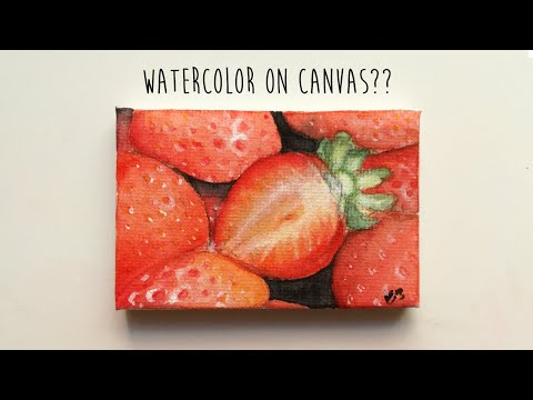 watercolor-on-canvas??---strawberries🍓🍓🍓-\\-cloud-art