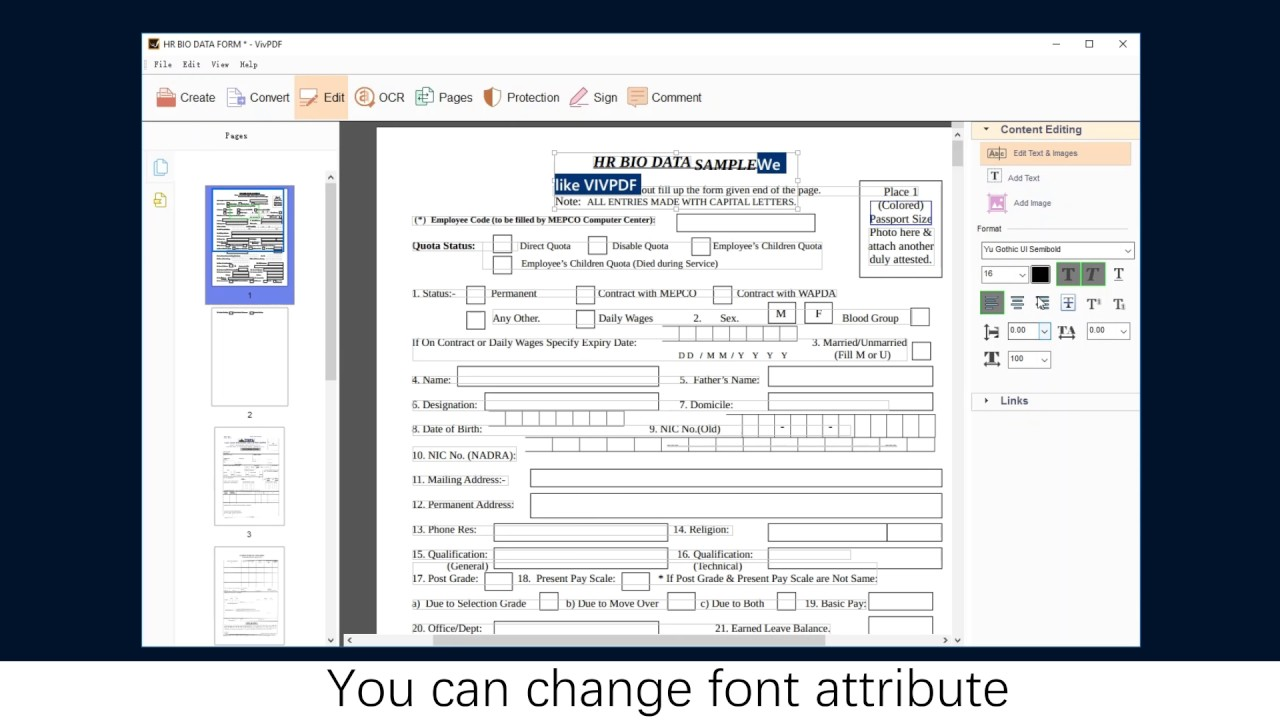 how to change text in pdf document