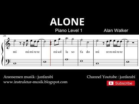 Melodi Lagu Alone - Not Balok Tutorial Piano Tingkat 3 - Not Lagu Alan Walker - Instrumen