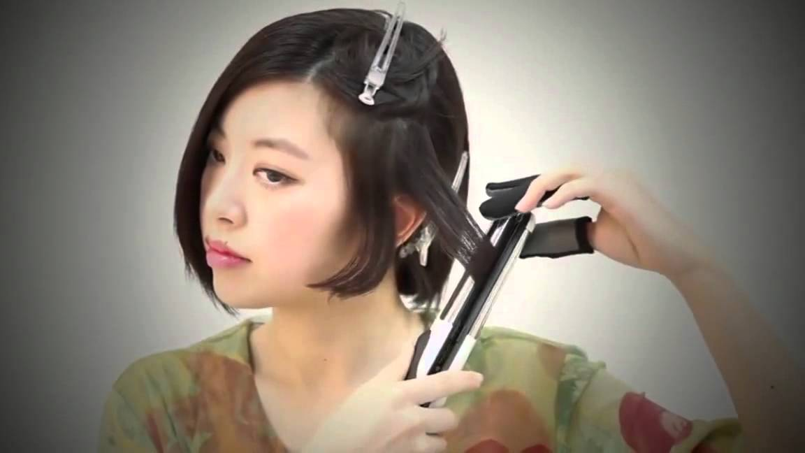 Short Wavy Hair Tutorial With Straightener ♕ Cute Asian