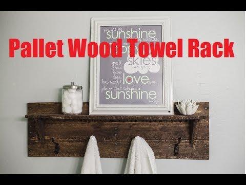 Rustic Pallet Wood Towel Rack