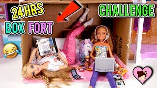 Barbie Doll  24 HOUR Overnight Challenge in Cardboard Box Fort