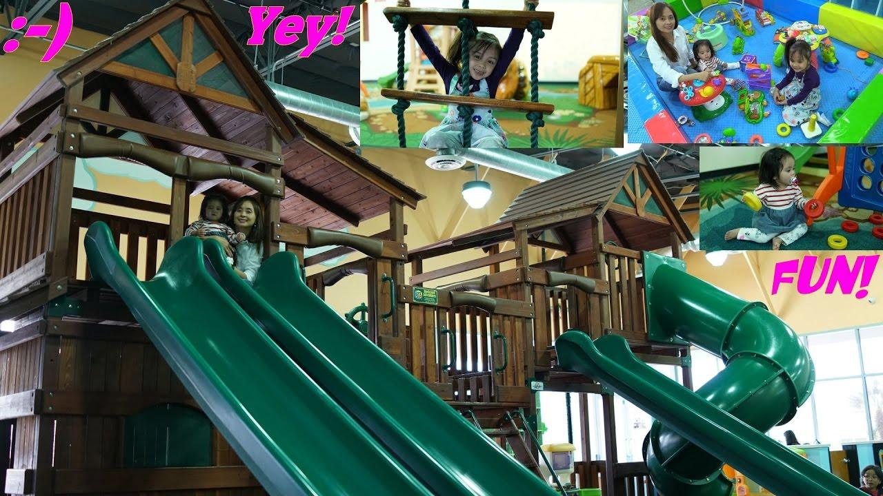 Family Indoor Playground Playtime! Wooden Slides, Bouncer, Kitchen ...