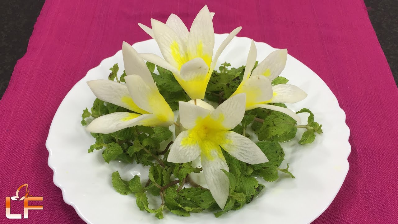 Lovely white radish flower garnish art in vegetable carving lovely white radish flower garnish art in vegetable carving designs mightylinksfo
