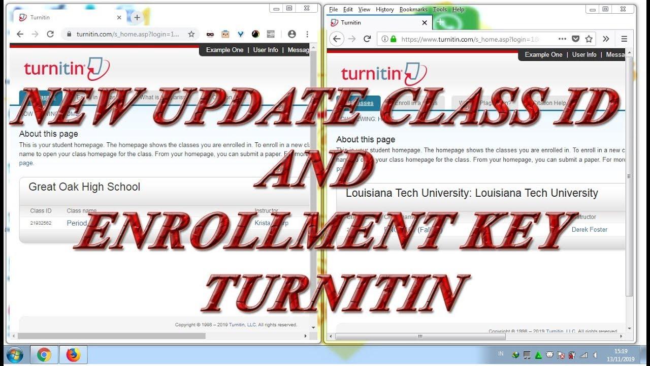 New Update Class Id And Enrollment Key Turnitin