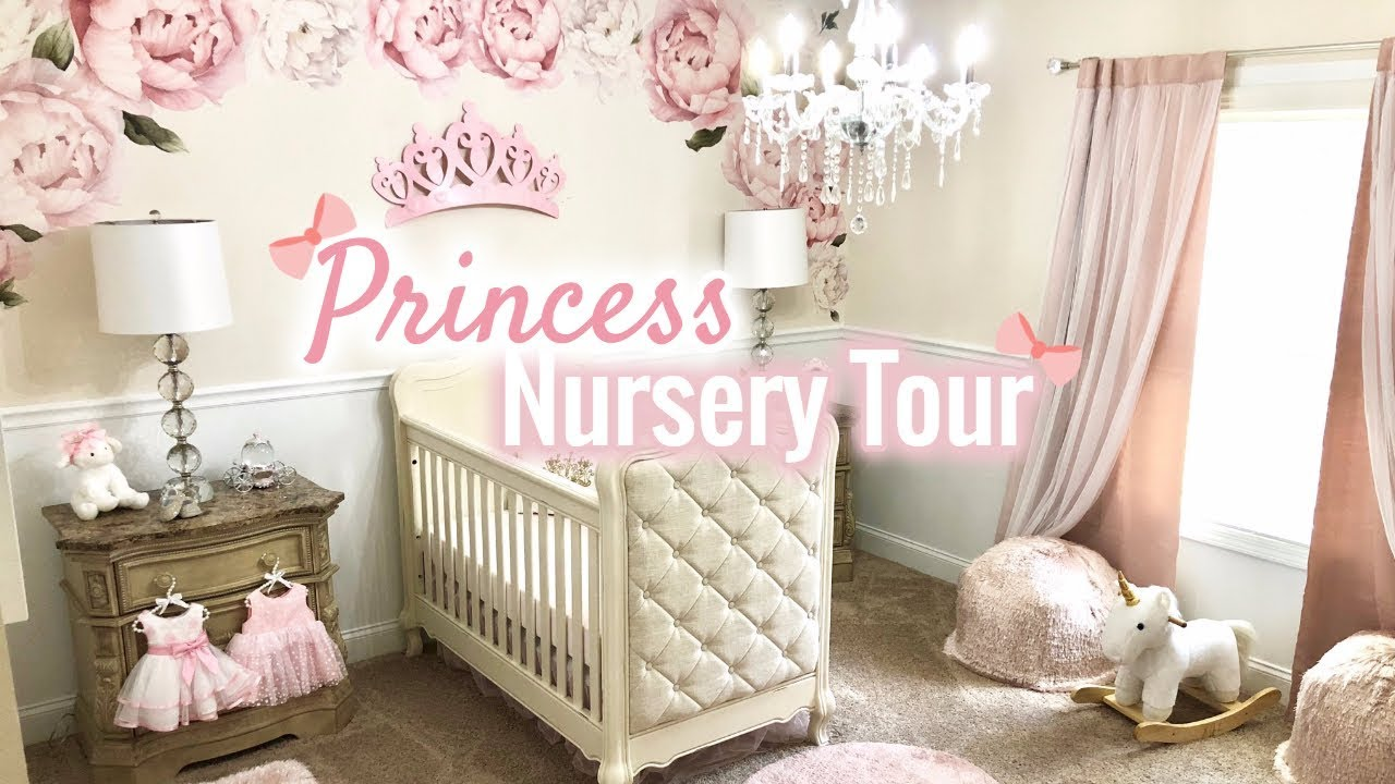 BABY GIRL NURSERY TOUR! | Princess Nursery 2018 | LGQUEEN Home Decor - YouTube