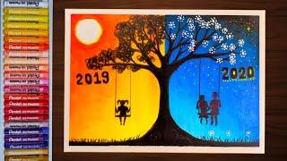 วาดภาพวันปีใหม่2020 How to draw Happy New Year 2020