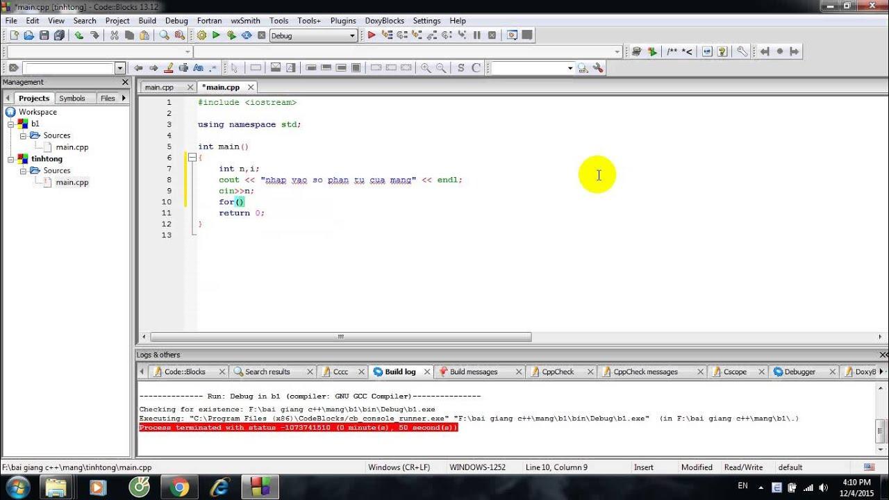 mảng 1 chiều trong c++