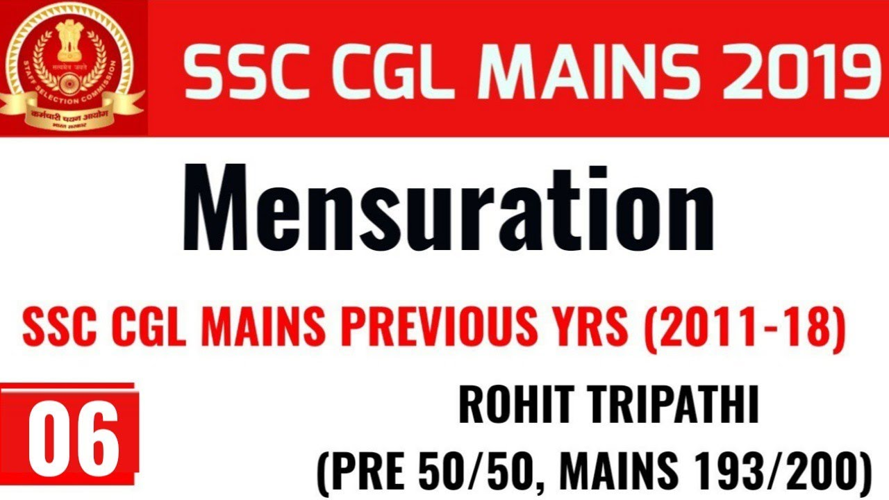 Mensuration Questions asked in SSC CGL Mains (2011-18)  by Rohit Tripathi | Part-6