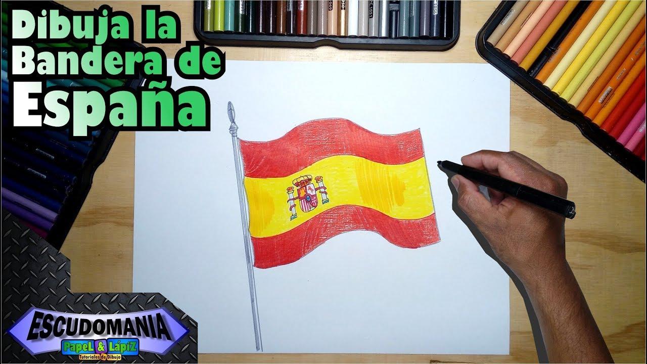 Cómo Dibujar Y Pintar La Bandera Oficial De España Youtube