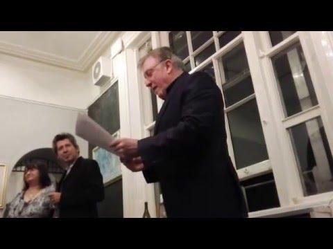 Singer Paul Harrington opens Kyron Bourke's Art Show,  in the United Arts Club, Dublin.