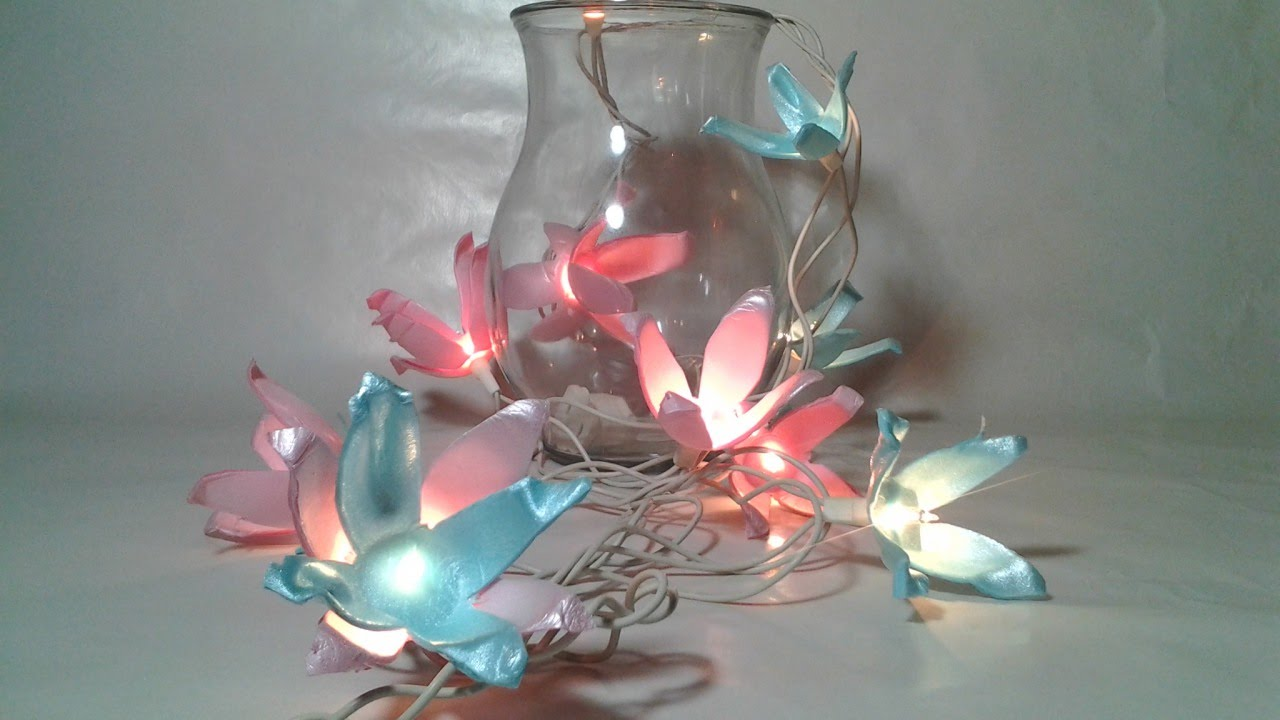 Diy flower string lights - How To Make Upcycled Flower String Lights Diy Home Tutorial Guidecentral Youtube